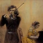 Adolph Menzel - Clara Schumann and  Joseph Joachim